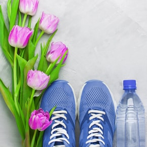 Tulips, jogging shoes, bottle water